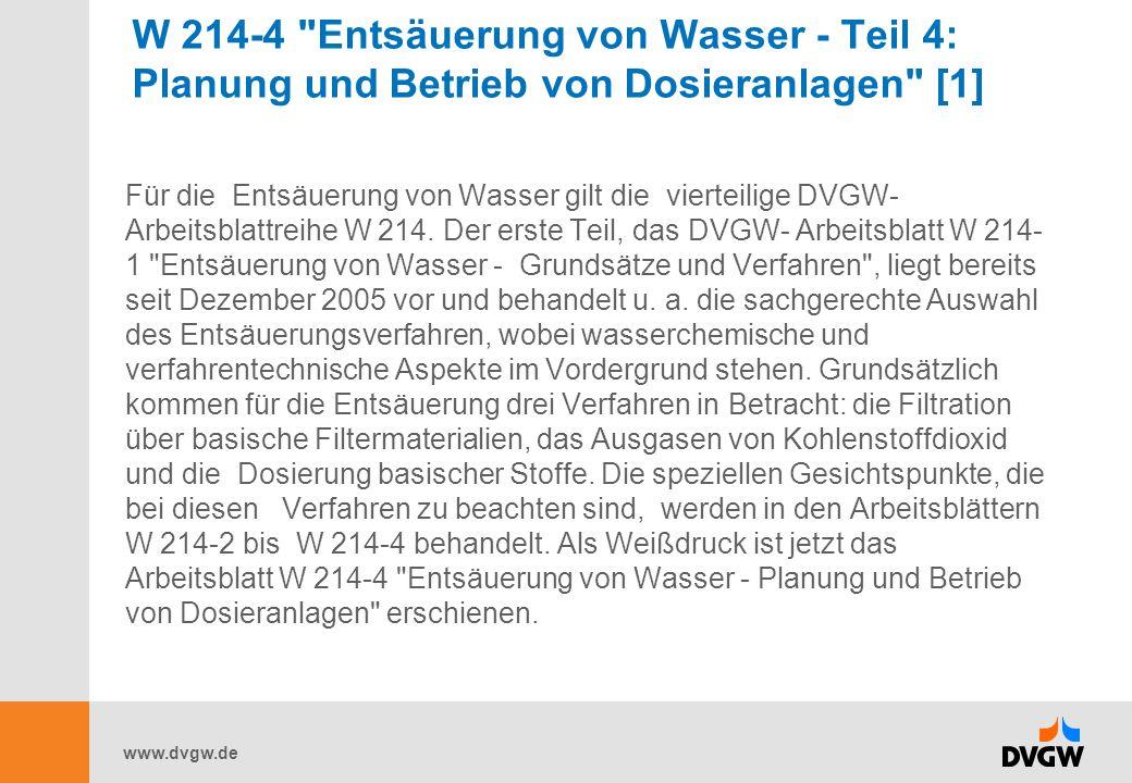 W 214-4 Entsäuerung von Wasser - Teil 4: Planung und Betrieb von Dosieranlagen [1]